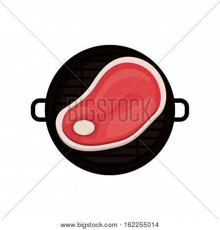 Grill and meat icon. Bbq menu steak house food and meal theme. Isolated design. Vector illustration