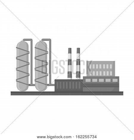 Oil refinery factory icon in monochrome style isolated on white background. Oil industry symbol vector illustration.