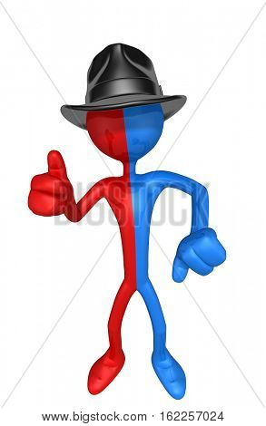 The Original 3D Business Man Character Illustration Wearing A Fedora