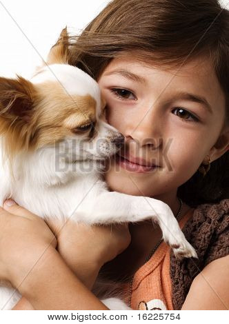 Close up of adorable little girl holding chihuahua puppy standing and looking up