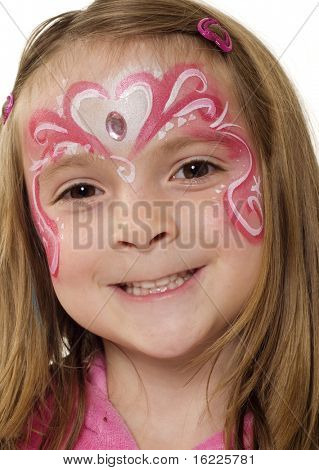 Pretty girl with creative artistic face painting