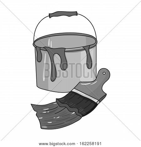 Bucket of paint and paintbrush icon in monochrome style isolated on white background. Artist and drawing symbol vector illustration.