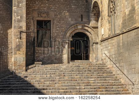 Entrance Stone Building In The Latin District Of Barcelona