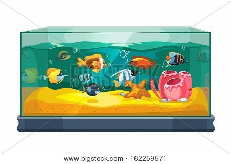 Cartoon freshwater fishes in tank aquarium vector illustration. Exotic cartoon fish in aquarium illustration