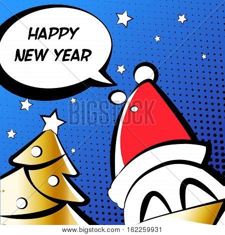 Happy New Year illustration with in a Santa hat golden tree and text cloud. Comics style. Vector card.