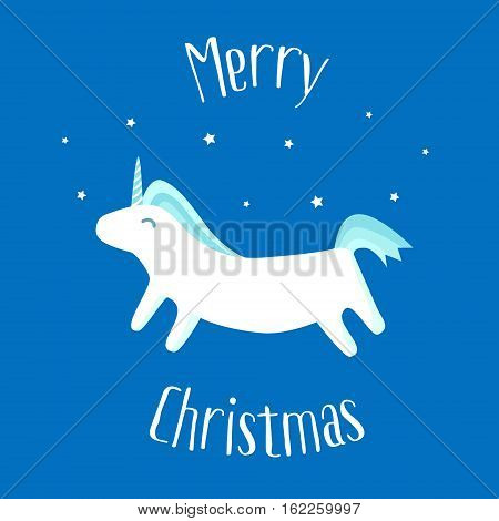Merry Christmas card with fun unicorn on blue background. Vector illustration.
