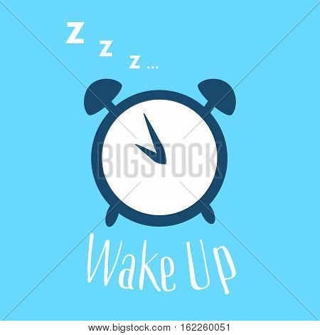 Wake up poster with alarm clock and letters. Vector illustration. Flat style.