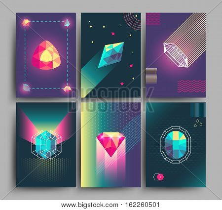 Retro trendy vector hipster posters, 3d card with crystals, abstract geometric shapes. Banner with color crystal, bright and shiny polygon crystal stone illustration