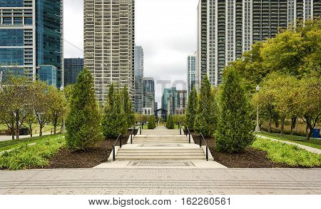 Large pergola canopy over walkway in city park poster
