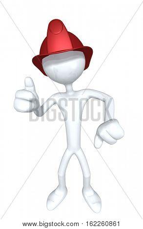 The Original 3D Character Illustration Fireman