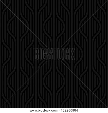 Stpiped wavy Black Neutral geometric seamless patterns for web design. Monochromatic colors tileable vector background.