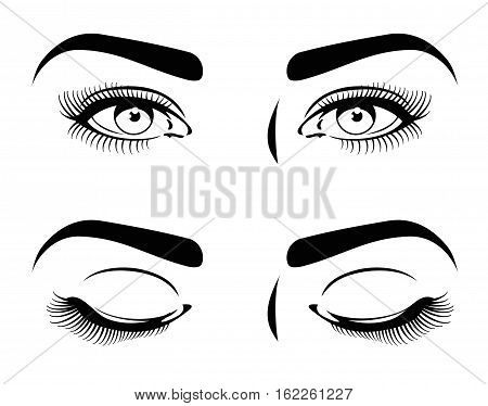 Close and open eyes of beautiful woman, long eyelashes. cosmetic model vector set. Human beauty eyes, , fashion makeup for woman eyes illustration