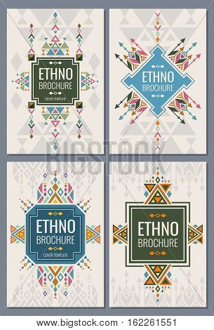 Ethnic, tribal, indian and mexican style brochure vector templates. Ethno booklet brochure with ethno pattern, vintage illustration