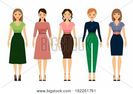 Women dress code romantic style icons on white background. Vector illustration