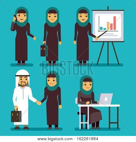 Arab businesswoman vector characters set. Saudi, iranian women at work in office. Business woman presentation diagram and chart, arabian woman illustration