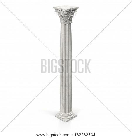 Corinthian Order Column on white background. 3D illustration