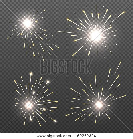 Magic spark effects, burning bengal lights, sparkler fire vector set. Bright magic spark effects for christmas holiday illustration