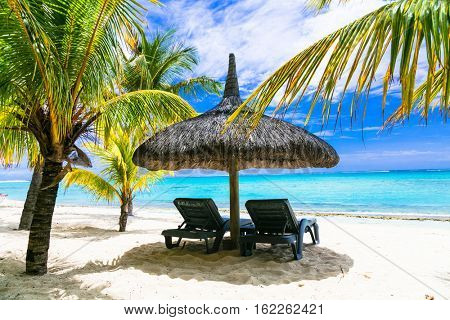 tropical relaxing vacation. white sandy beaches of Mauritius island