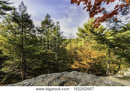 Fall foliage from rocky high point at Purgatory Chasm