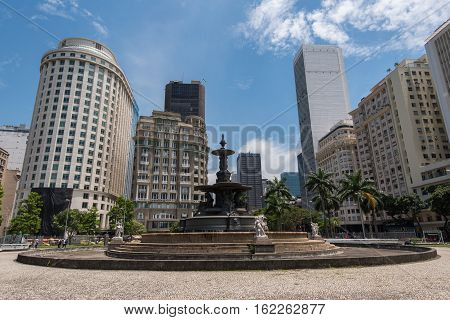 Empty Fountain at the Mahatma Gandhi Square and View of Office Buildings of Rio de Janeiro under the Clear Blue Sky