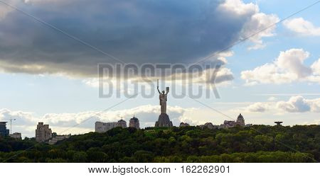 A monumental sculpture in Kiev on the right bank of the Dnieper. Located in the