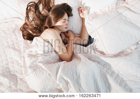 Bedding Loneliness Sleeping Bed Woman Alone Solitude Concept