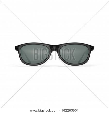 Black sunglasses isolated on white background. Front view. 3D illustration