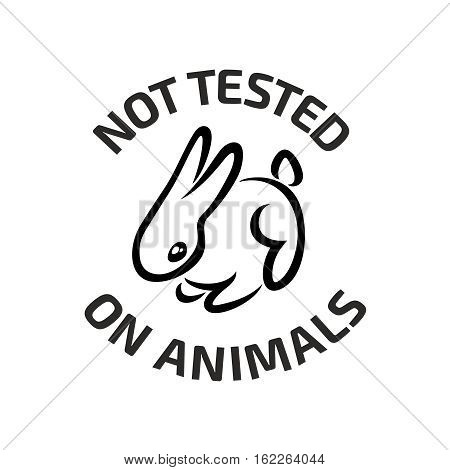Animal testing logo. Little cute rabbit with text Not tested on animals around. Black color.