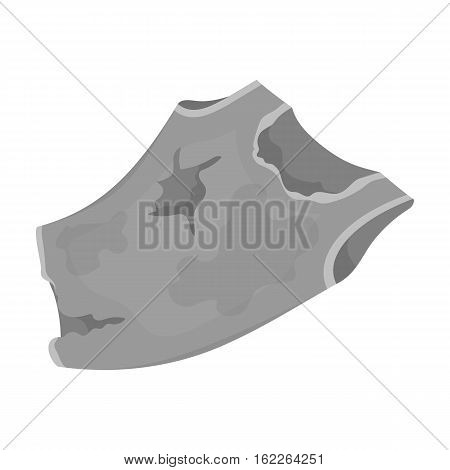 Torn t-shirt icon in monochrome style isolated on white background. Trash and garbage symbol vector illustration.