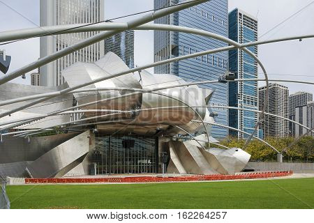 Chicago, IL, USA, Jay Pritzker Pavilion in Millennium Park in Chicago, Illinois.It serves as the centerpiece for Millennium Park and the new home of the Grant Park Symphony Orchestra