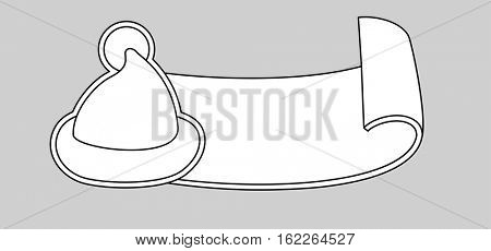 Santa Claus cartoon hat silhouette and ribbon in line art style isolated on grey. Happy New Year 2016 symbol decoration template.Merry Christmas clothes holiday vector illustration elements for design