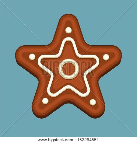 Gingerbread star christmas cookie isolated on blue background. Element for New Year design and art