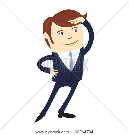 Funny Business Man Wearing Suit Looking Forward. Flat Style