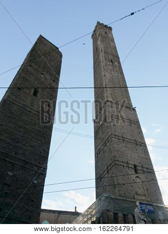 Torre Garisenda and Torre Degli Asinelli Towers aka the Two Towers in Bologna Italy