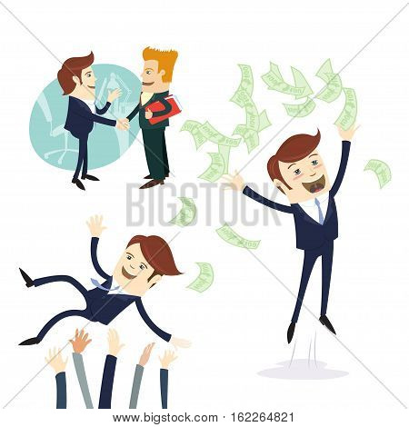 Business Men Handshake, Businessman Throwing Money, Threw In The Air