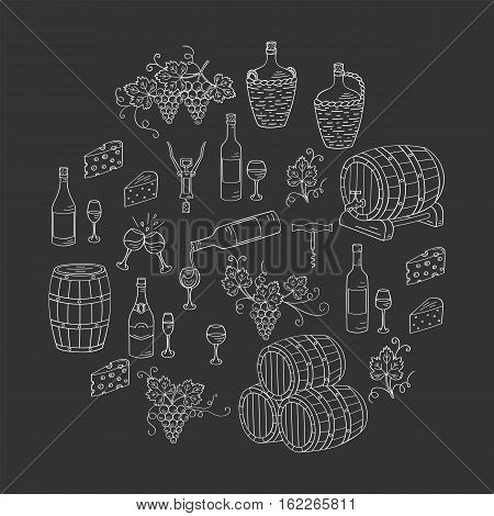Wine and wine making set vector illustrations hand drawn doodle, bottles, glasses, grapes, wine tasting, cheese, champagne, barrels, cellar. Wine design elements on chalkboard.