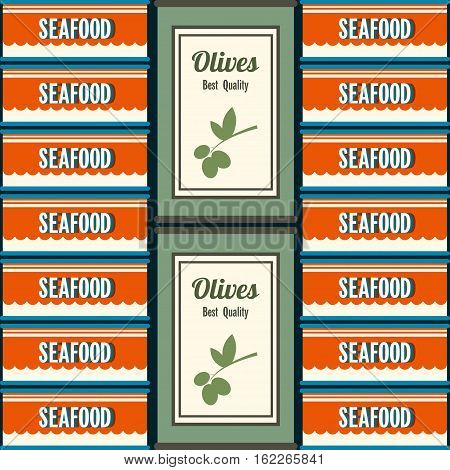 Tin Vector illustration The pattern of the two types of tin in retro style Tin cans with seafood and olives