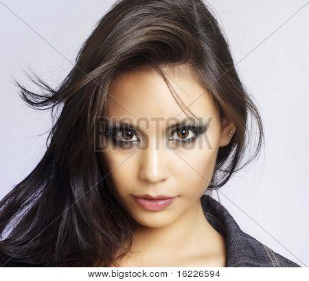 Beautiful face of a fashion model