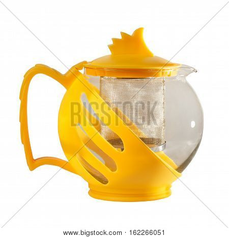 Teapot. Kettle with Tea Strainer. Isolation on a white background
