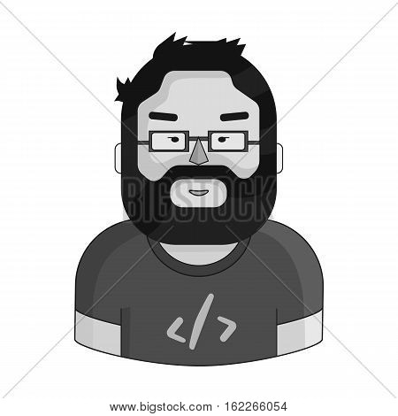 Programmer icon in monochrome style isolated on white background. People of different profession symbol vector illustration.