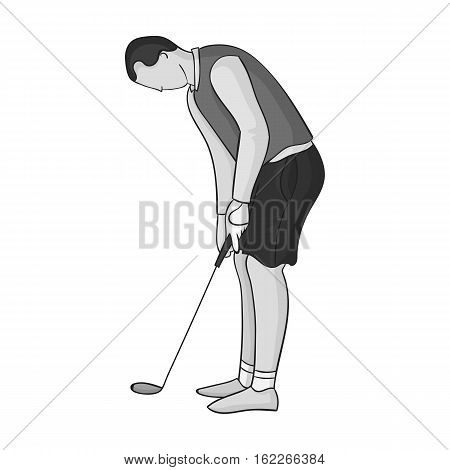 Golfer before kick icon in monochrome style isolated on white background. Golf club symbol vector illustration.
