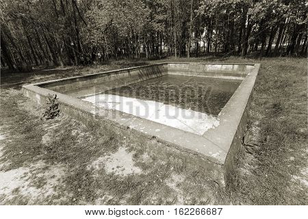 old swimming pool located in the forest on a glade. In an abandoned swimming pool there is still some water. Pool is considered part of the territory which is called Hitler's headquarters