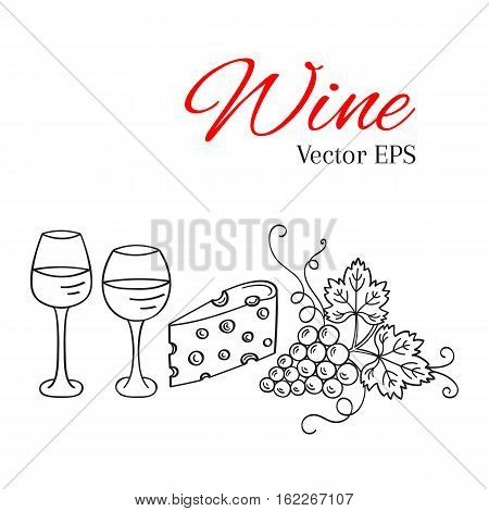 Red wine glass and white wine glass, grapes, cheese vector illustrations isolated, hand drawn doodle sketch. Wine background.