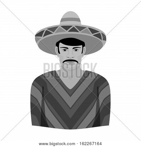 Mexican man in sombrero and poncho icon in monochrome style isolated on white background. Mexico country symbol vector illustration.