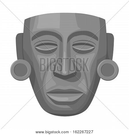 Mayan mask icon in monochrome style isolated on white background. Mexico country symbol vector illustration.
