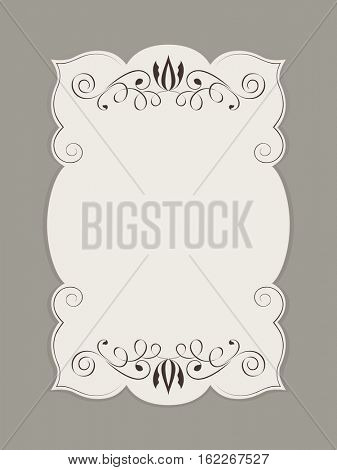 Blank figured card with floral ornament illustration.