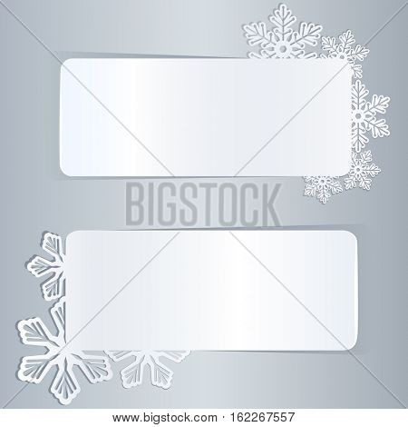 Blank white winter banners with snowflake shapes template.