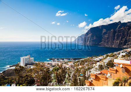 beautiful aerial landscape of Los Gigantes resort city Tenerife Canary Islands Spain