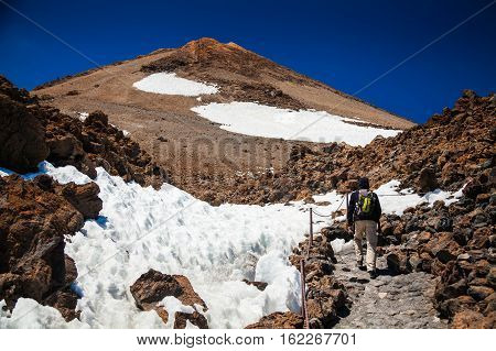 Man Hiking On Volcano Teide