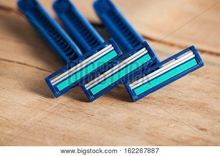 Razor equipment for shaver close up. Hygiene accessories